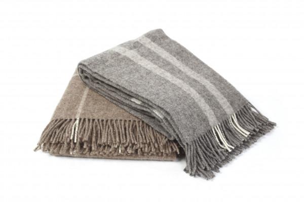 Couchdecke 100 % Schurwolle grau mit Streifen